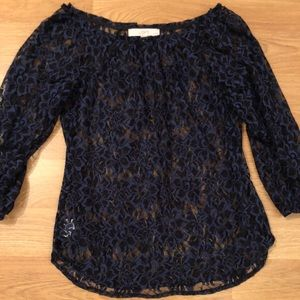 Blue and black lace top